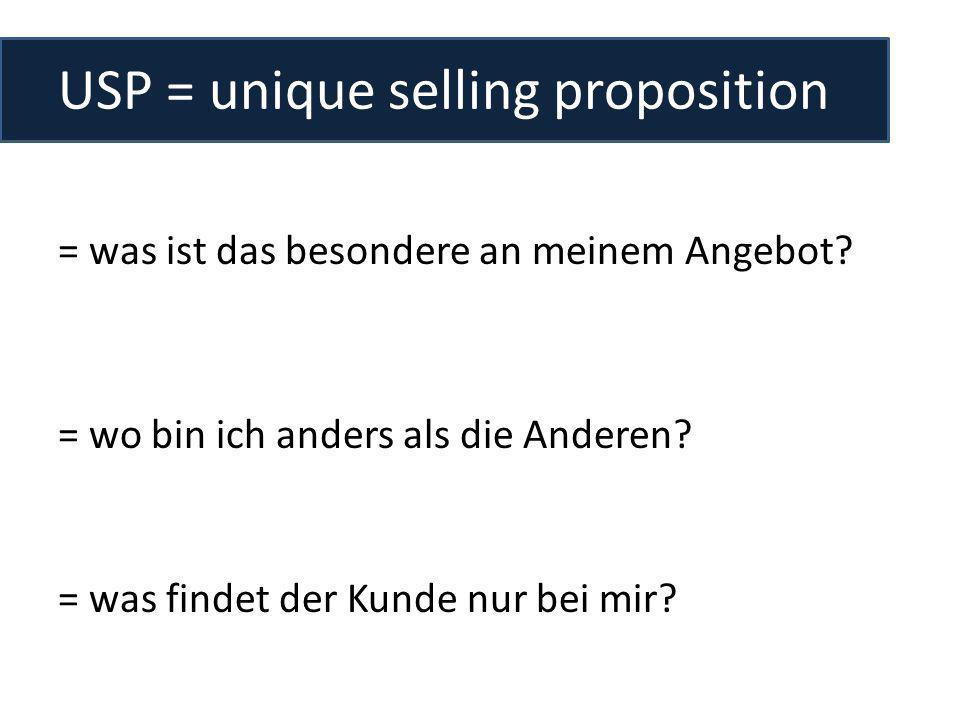 USP = unique selling proposition