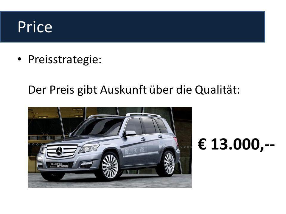 Price Preisstrategie: Der Preis gibt Auskunft über die Qualität: € 13.000,--