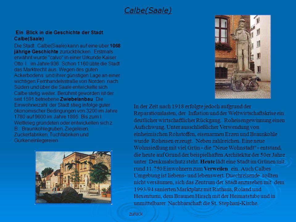 Calbe(Saale) Ein Blick in die Geschichte der Stadt Calbe(Saale)
