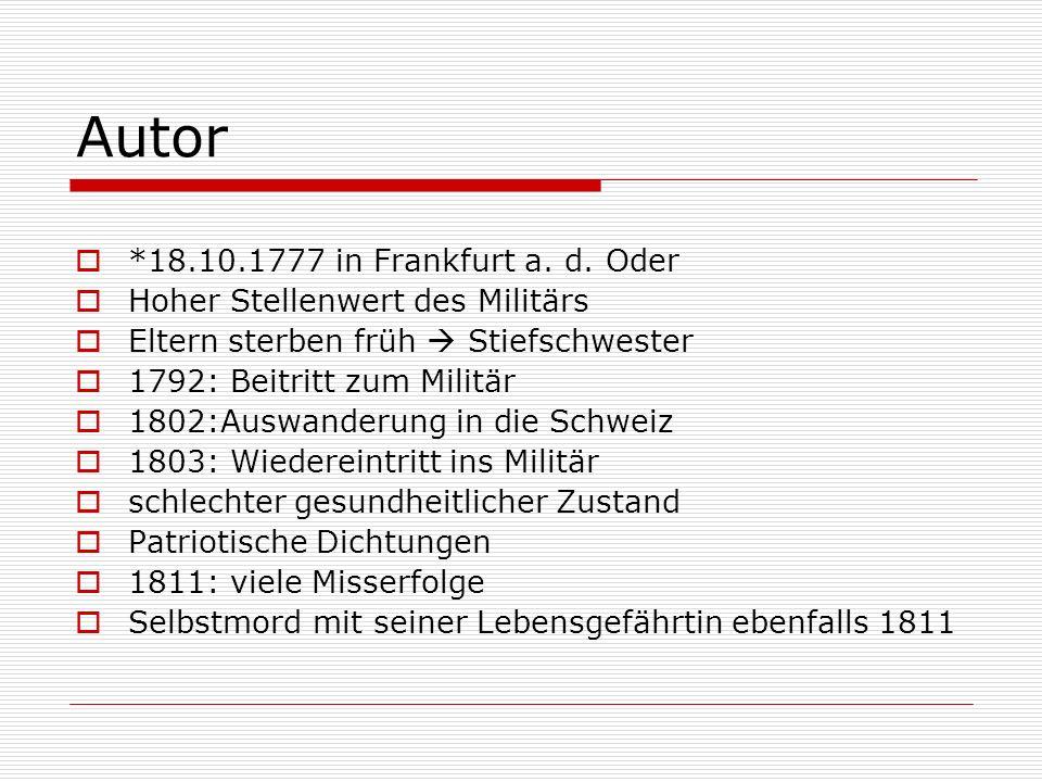 Autor *18.10.1777 in Frankfurt a. d. Oder