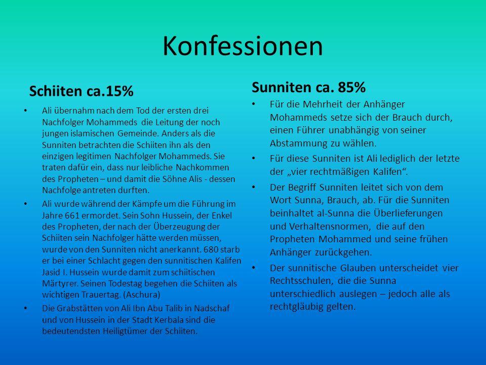 Konfessionen Sunniten ca. 85% Schiiten ca.15%