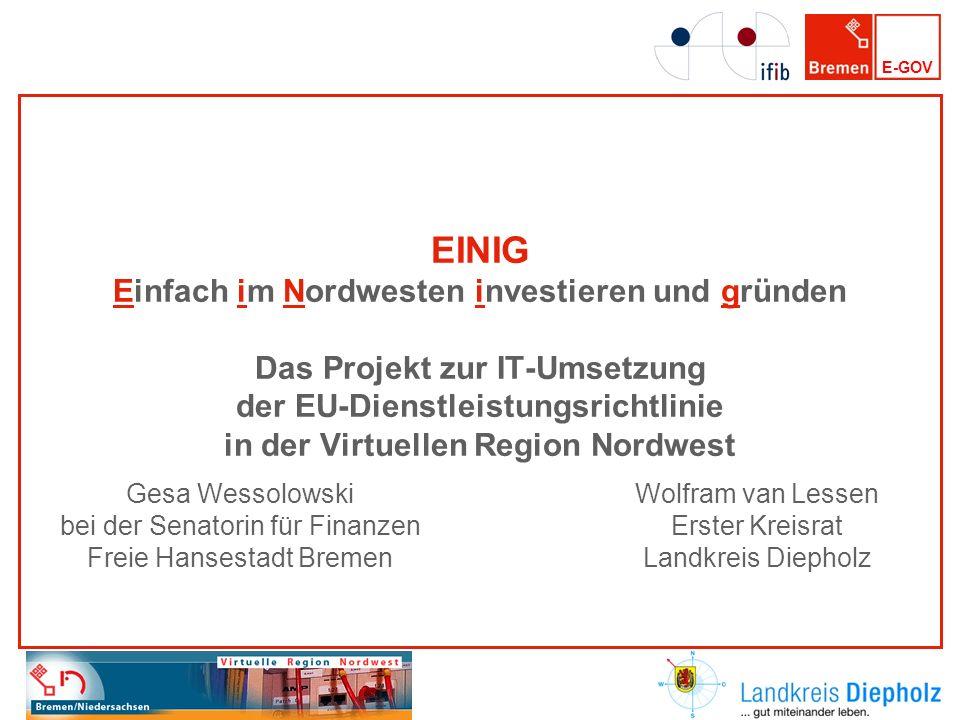 EINIG Einfach im Nordwesten investieren und gründen Das Projekt zur IT-Umsetzung der EU-Dienstleistungsrichtlinie in der Virtuellen Region Nordwest