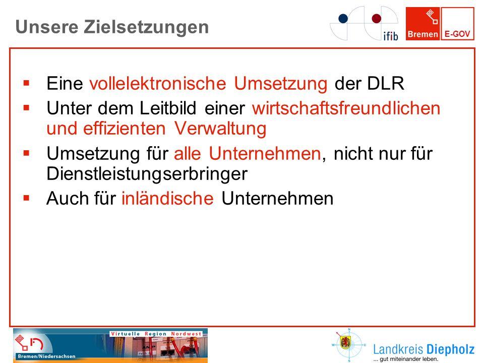 Unsere Zielsetzungen Eine vollelektronische Umsetzung der DLR. Unter dem Leitbild einer wirtschaftsfreundlichen und effizienten Verwaltung.