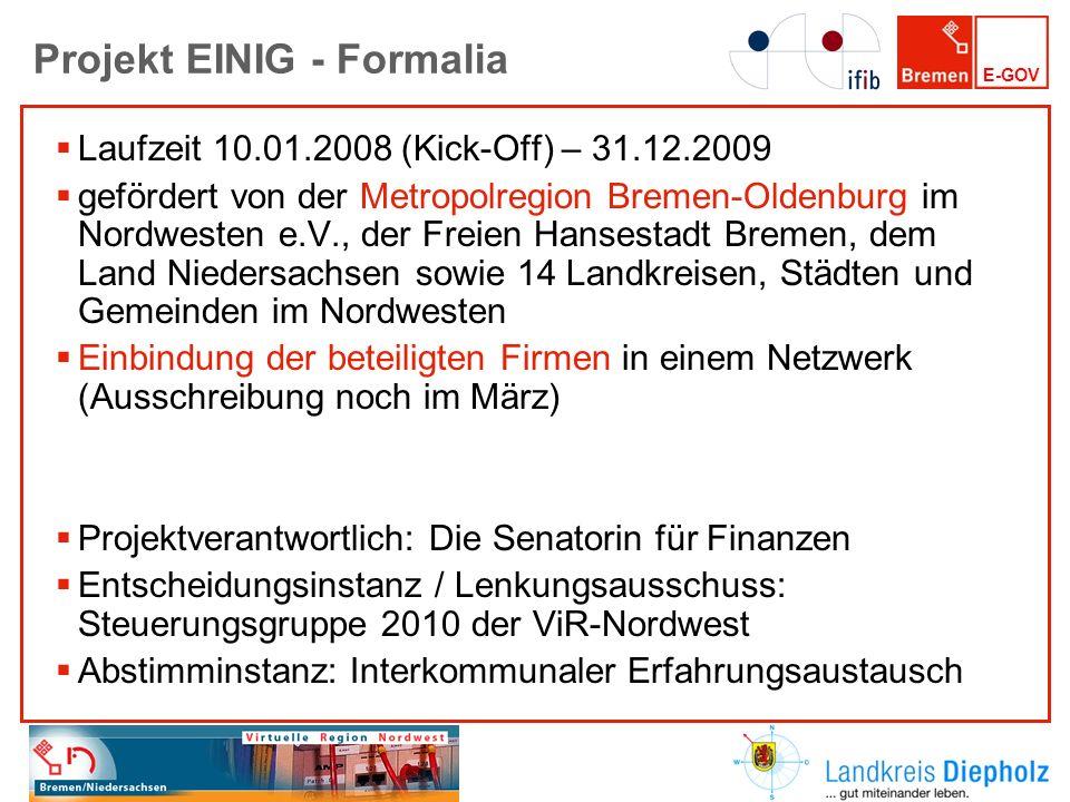 Projekt EINIG - Formalia