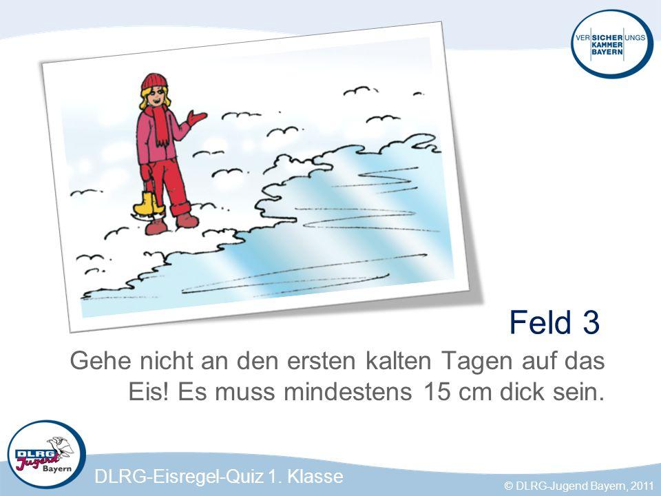 Feld 3 Gehe nicht an den ersten kalten Tagen auf das Eis! Es muss mindestens 15 cm dick sein.