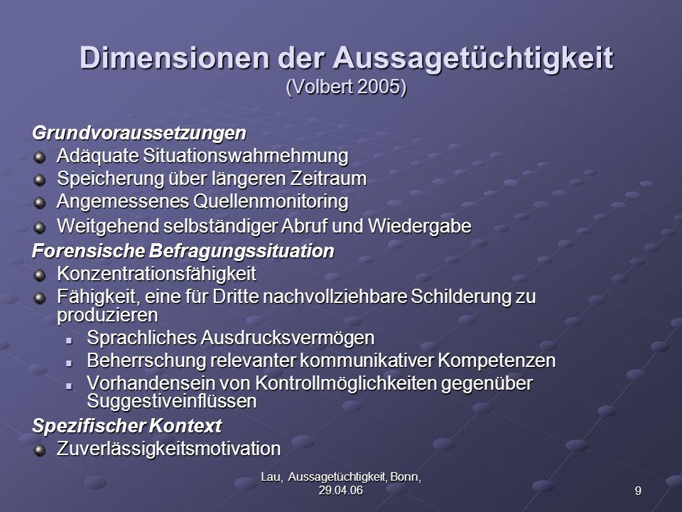 Dimensionen der Aussagetüchtigkeit (Volbert 2005)