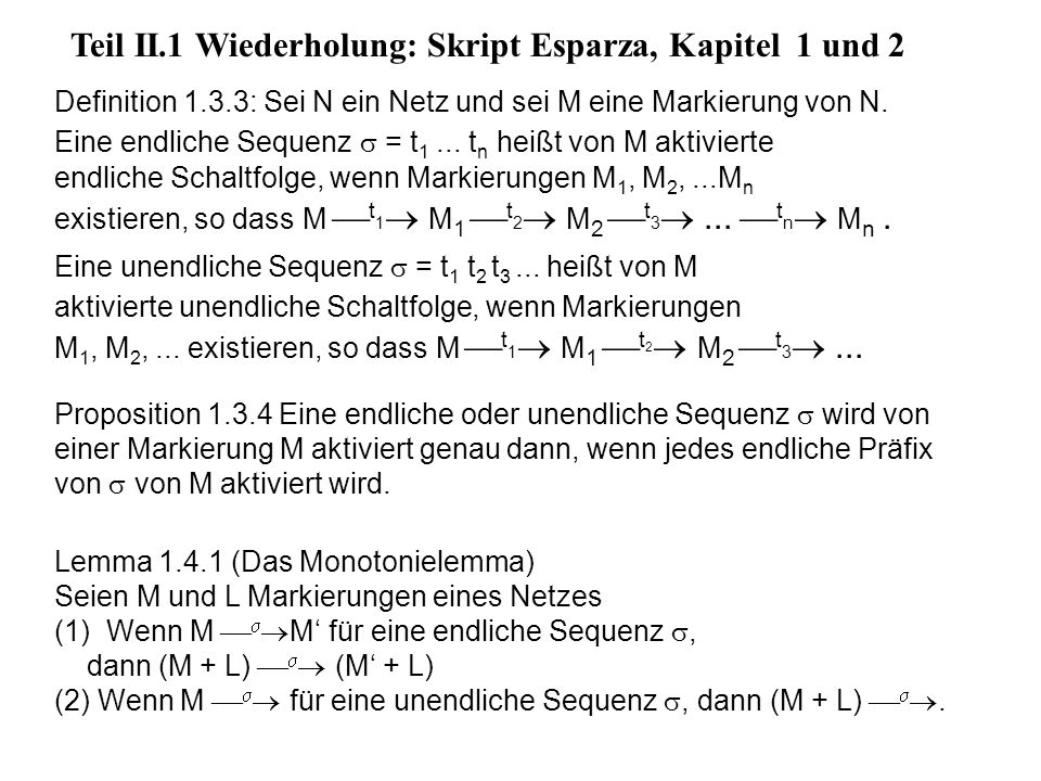 Teil II.1 Wiederholung: Skript Esparza, Kapitel 1 und 2