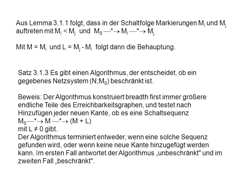 Aus Lemma 3.1.1 folgt, dass in der Schaltfolge Markierungen Mi und Mj auftreten mit Mi < Mj und M0 * Mi * Mj .
