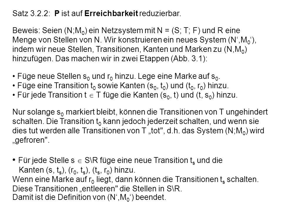 • Für jede Stelle s  S\R füge eine neue Transition ts und die