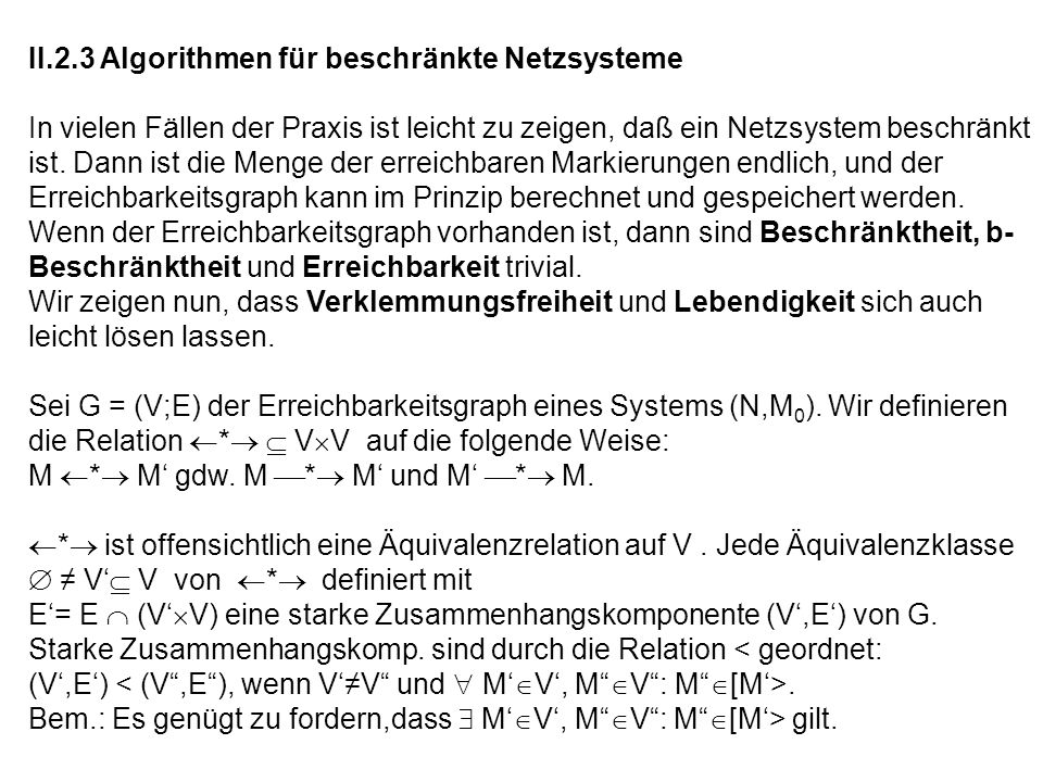 II.2.3 Algorithmen für beschränkte Netzsysteme