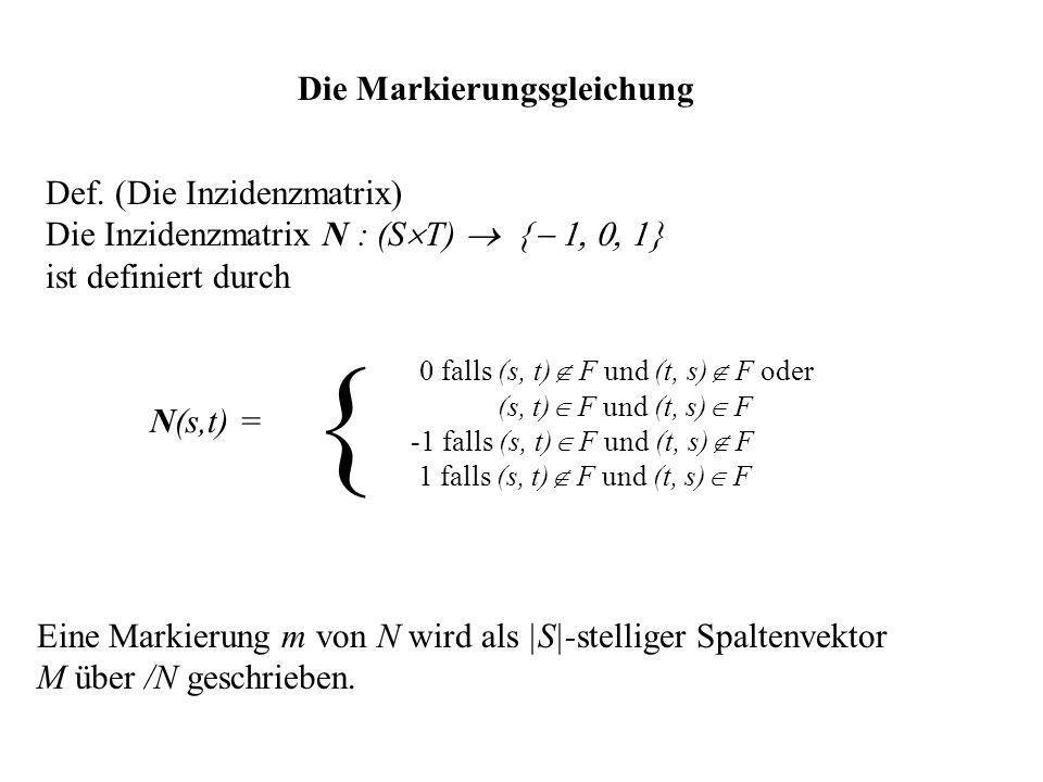 { Die Markierungsgleichung Def. (Die Inzidenzmatrix)