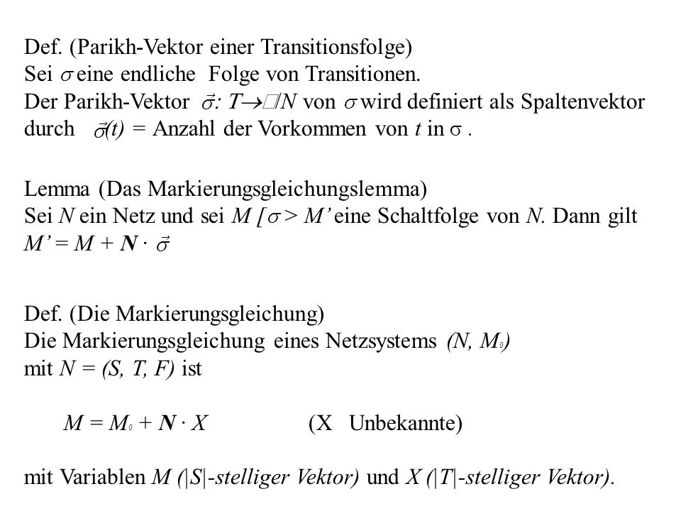 Def. (Parikh-Vektor einer Transitionsfolge)