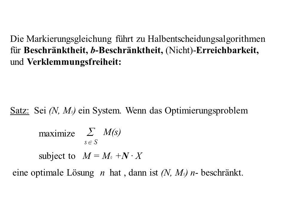 Satz: Sei (N, M0) ein System. Wenn das Optimierungsproblem maximize 