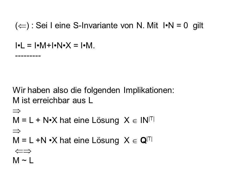 () : Sei I eine S-Invariante von N. Mit I•N = 0 gilt