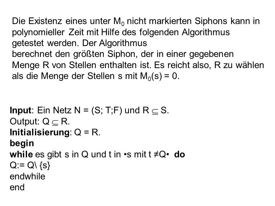 Die Existenz eines unter M0 nicht markierten Siphons kann in polynomieller Zeit mit Hilfe des folgenden Algorithmus getestet werden. Der Algorithmus