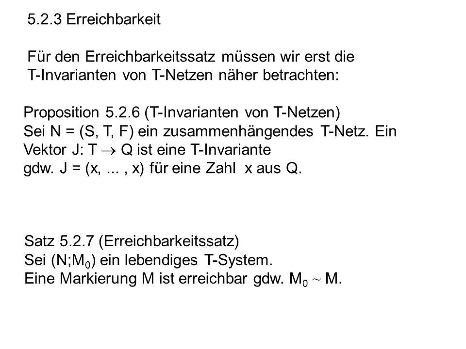 5.2.3 Erreichbarkeit Für den Erreichbarkeitssatz müssen wir erst die. T-Invarianten von T-Netzen näher betrachten:
