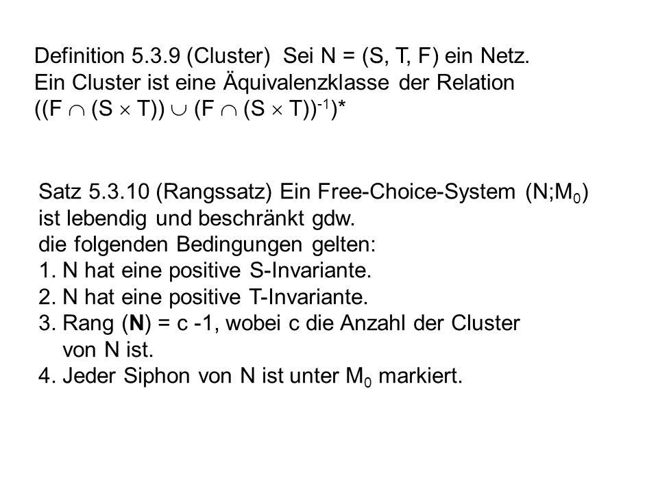 Definition 5.3.9 (Cluster) Sei N = (S, T, F) ein Netz.