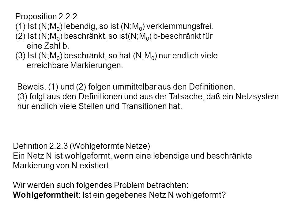 Proposition 2.2.2 (1) Ist (N;M0) lebendig, so ist (N;M0) verklemmungsfrei. (2) Ist (N;M0) beschränkt, so ist(N;M0) b-beschränkt für.