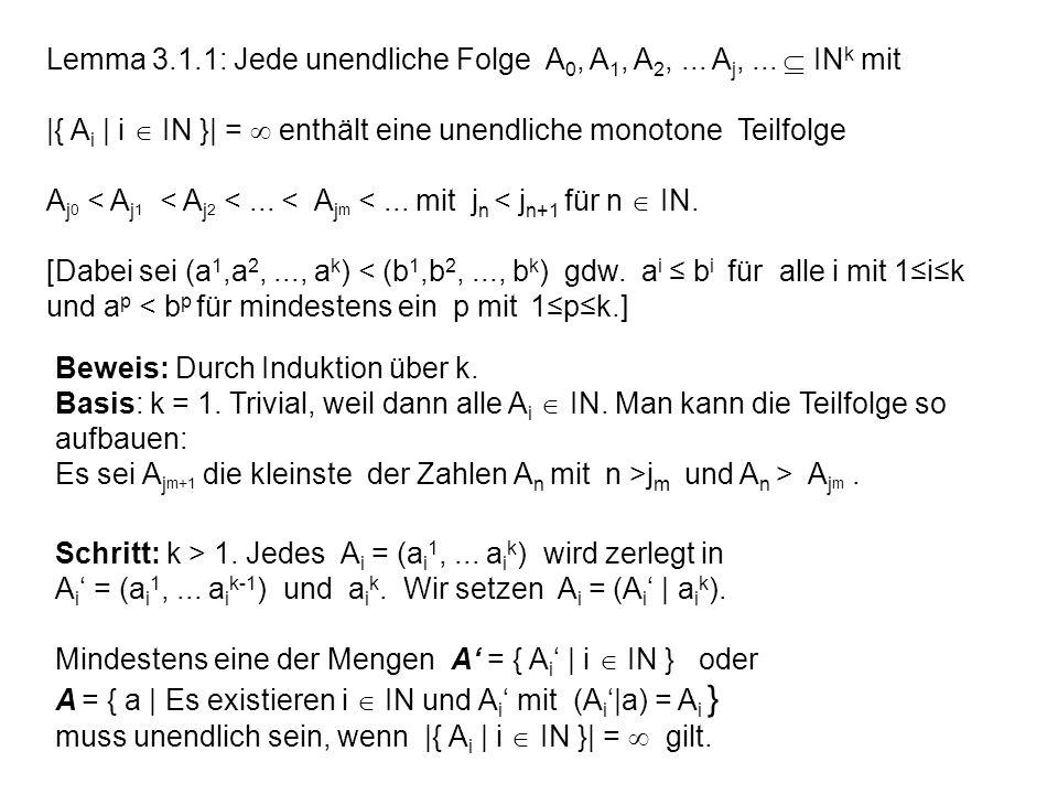 Lemma 3.1.1: Jede unendliche Folge A0, A1, A2, ... Aj, ...  INk mit