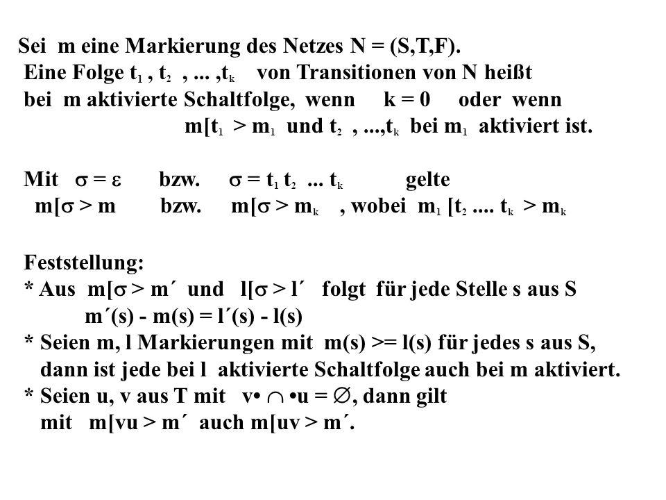 Sei m eine Markierung des Netzes N = (S,T,F).