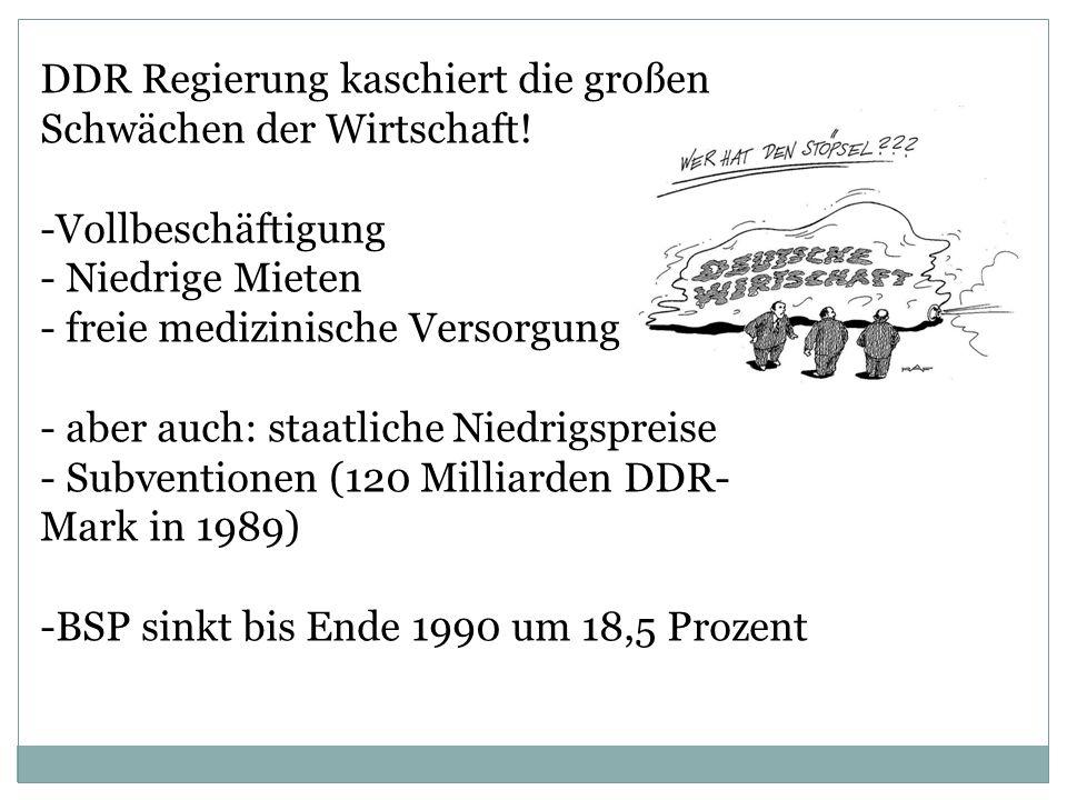 DDR Regierung kaschiert die großen Schwächen der Wirtschaft!