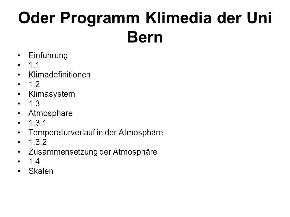 Oder Programm Klimedia der Uni Bern