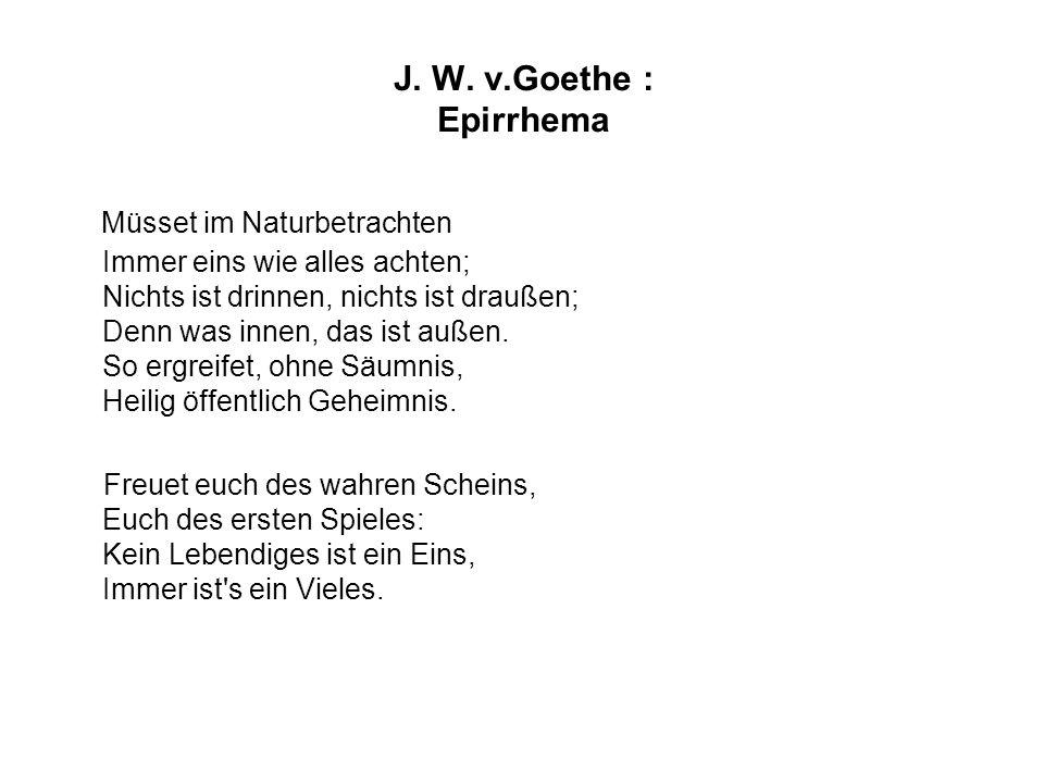 J. W. v.Goethe : Epirrhema