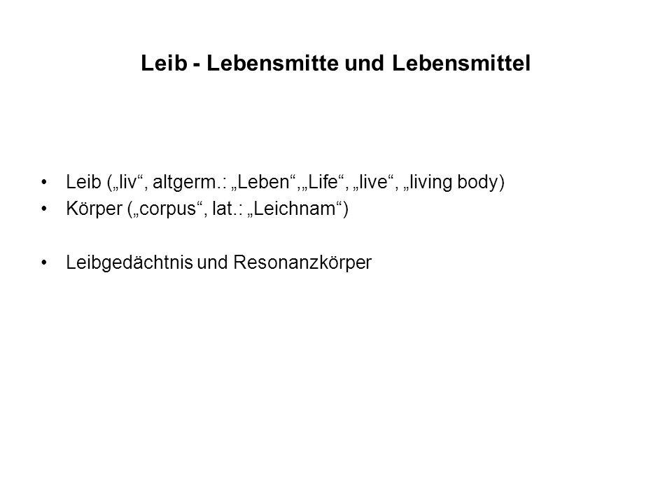 Leib - Lebensmitte und Lebensmittel