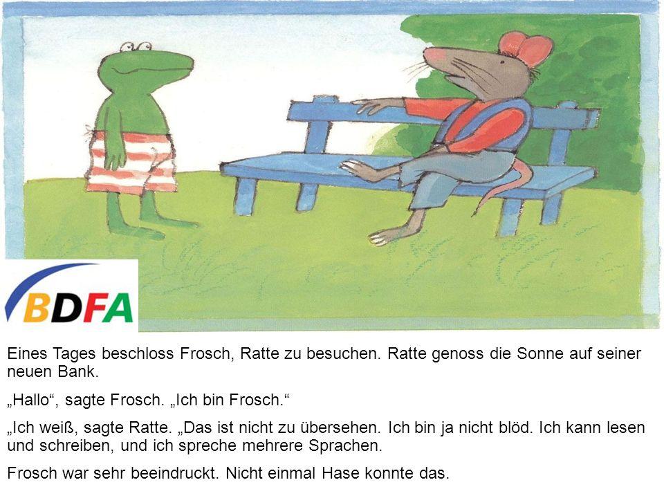 Eines Tages beschloss Frosch, Ratte zu besuchen