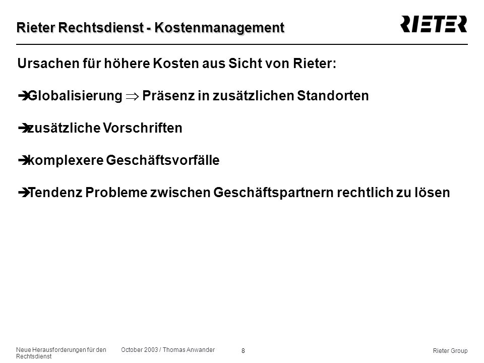 Rieter Rechtsdienst - Kostenmanagement