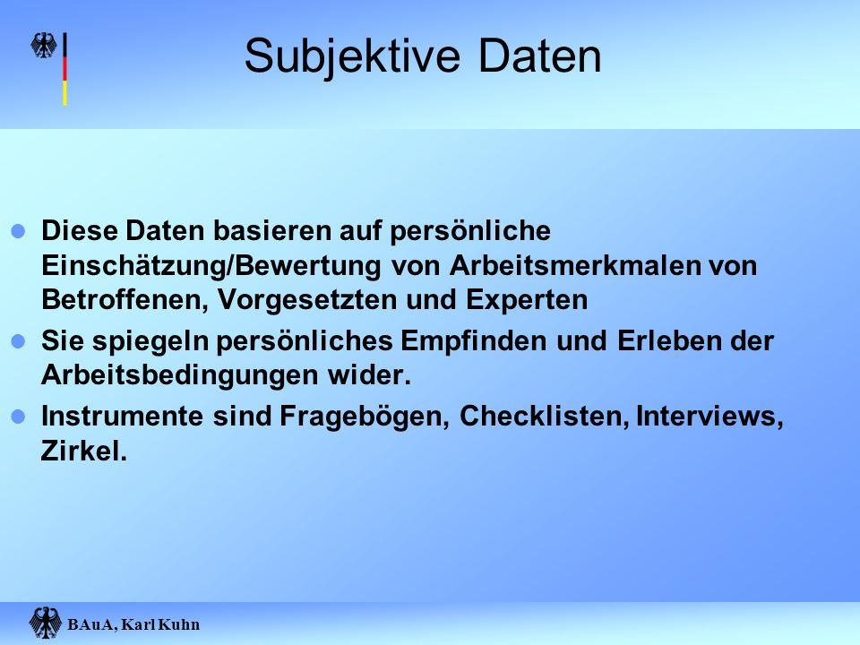 Subjektive Daten Diese Daten basieren auf persönliche Einschätzung/Bewertung von Arbeitsmerkmalen von Betroffenen, Vorgesetzten und Experten.