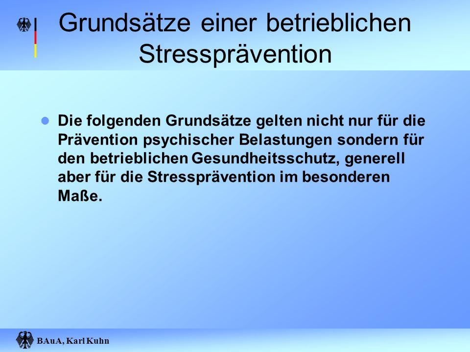 Grundsätze einer betrieblichen Stressprävention