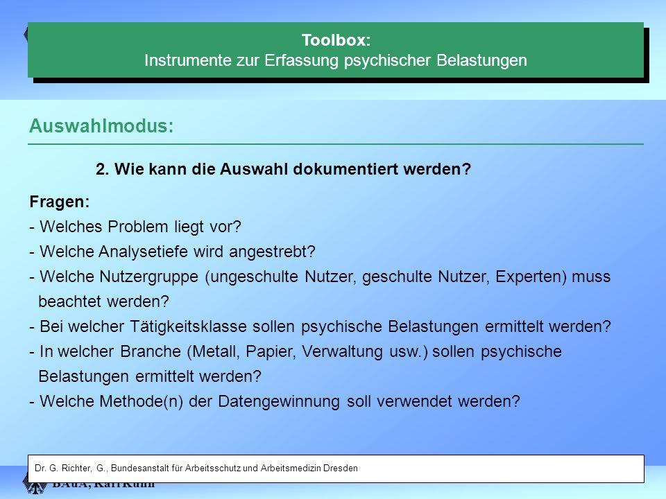 Toolbox: Instrumente zur Erfassung psychischer Belastungen