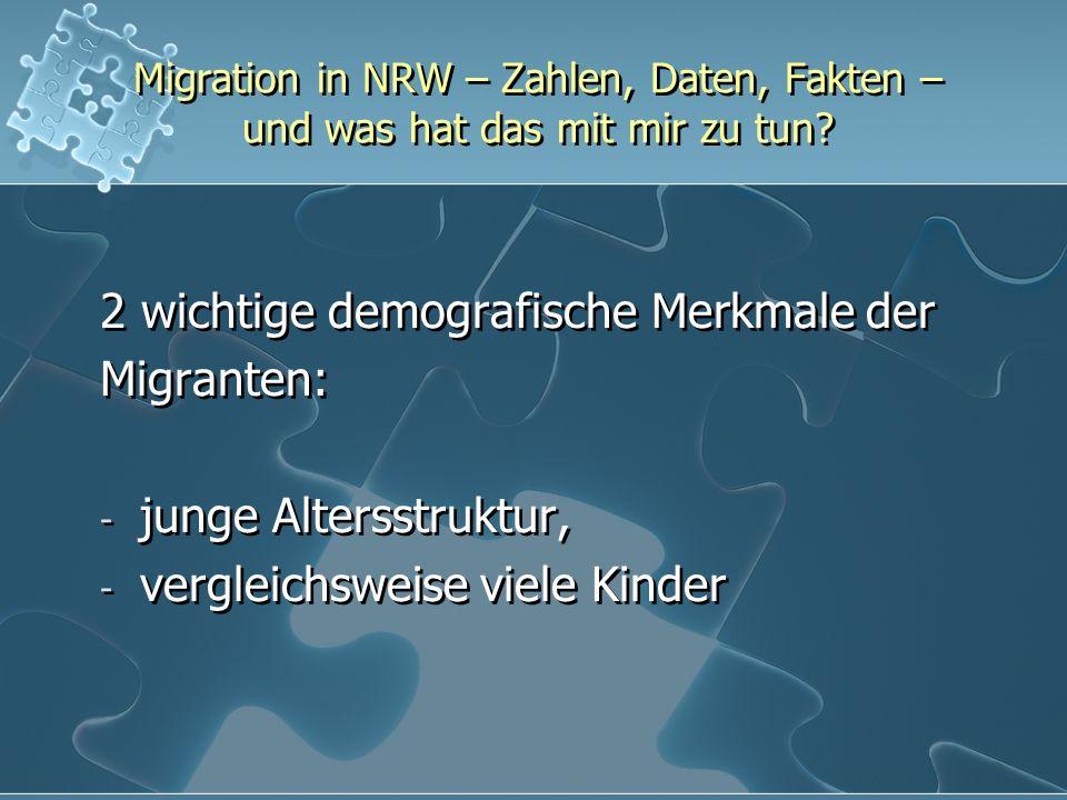 2 wichtige demografische Merkmale der Migranten: junge Altersstruktur,