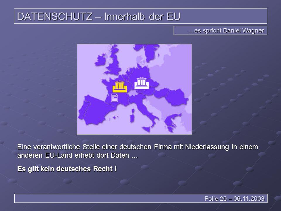 DATENSCHUTZ – Innerhalb der EU