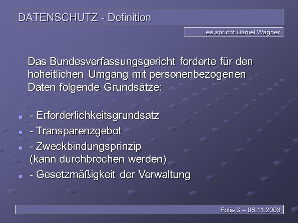 DATENSCHUTZ - Definition