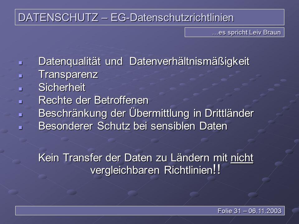 DATENSCHUTZ – EG-Datenschutzrichtlinien