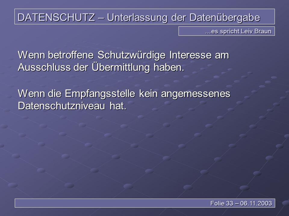 DATENSCHUTZ – Unterlassung der Datenübergabe