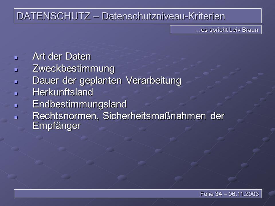 DATENSCHUTZ – Datenschutzniveau-Kriterien
