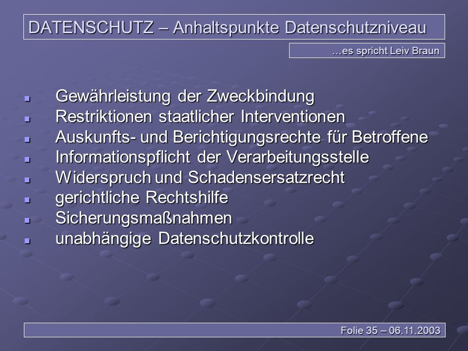 DATENSCHUTZ – Anhaltspunkte Datenschutzniveau