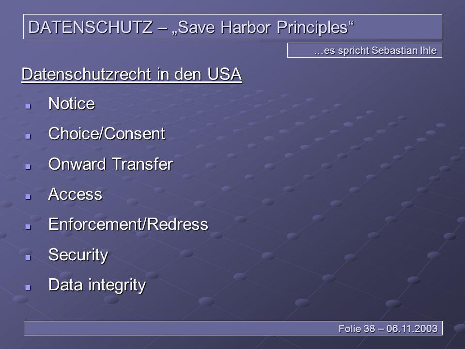 """DATENSCHUTZ – """"Save Harbor Principles"""