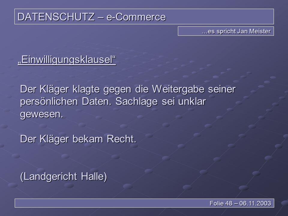 DATENSCHUTZ – e-Commerce