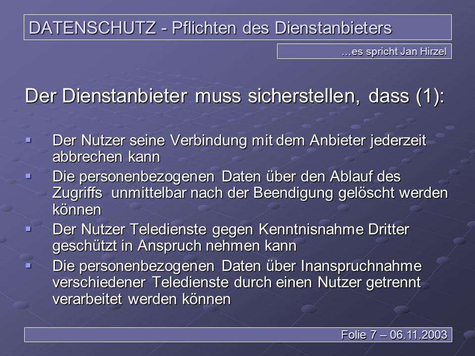 DATENSCHUTZ - Pflichten des Dienstanbieters
