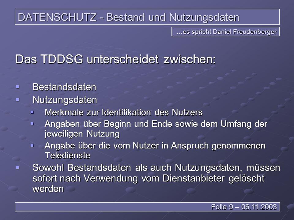 DATENSCHUTZ - Bestand und Nutzungsdaten