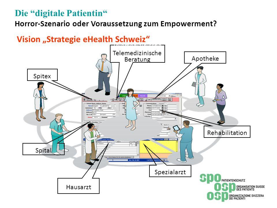 """Die digitale Patientin Horror-Szenario oder Voraussetzung zum Empowerment Vision """"Strategie eHealth Schweiz"""