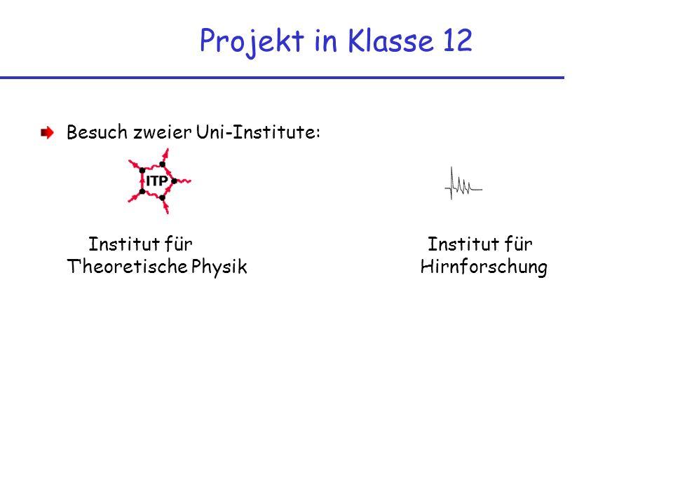 Projekt in Klasse 12 Besuch zweier Uni-Institute: