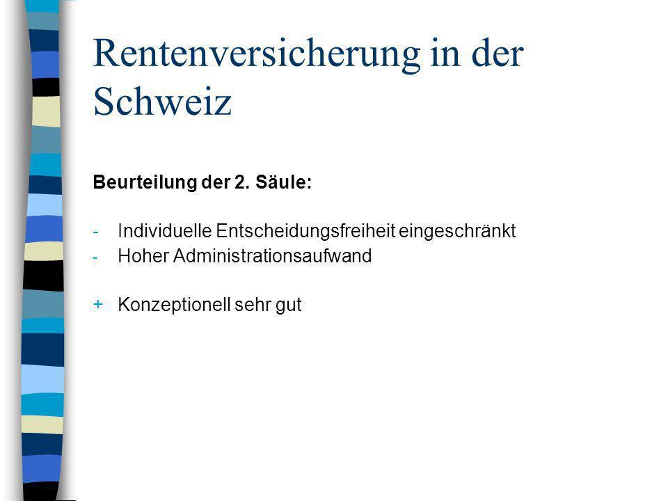 Rentenversicherung in der Schweiz