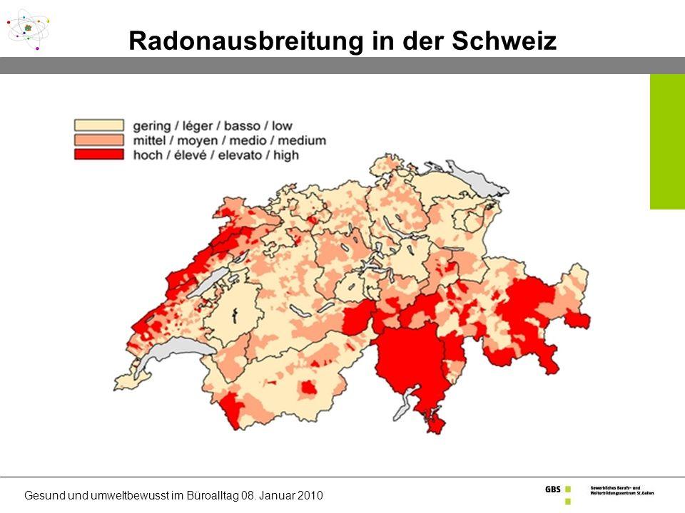 Radonausbreitung in der Schweiz