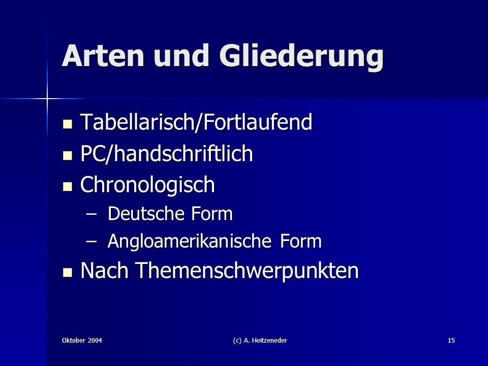 Arten und Gliederung Tabellarisch/Fortlaufend PC/handschriftlich