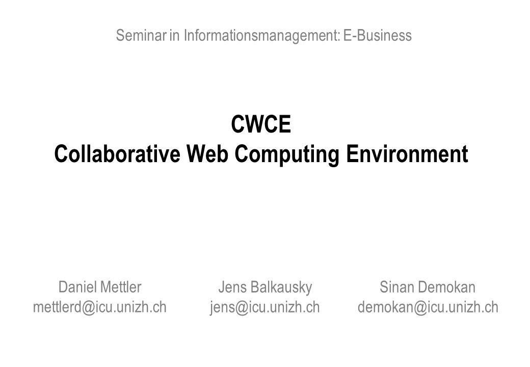 CWCE Collaborative Web Computing Environment